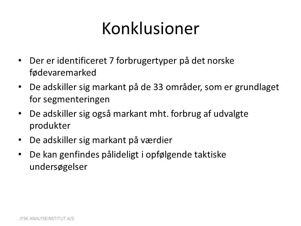 Konklusioner Der er identificeret 7 forbrugertyper på det norske fødevaremarked.