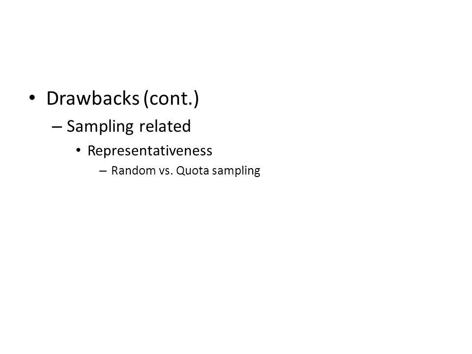 Drawbacks (cont.) Sampling related Representativeness