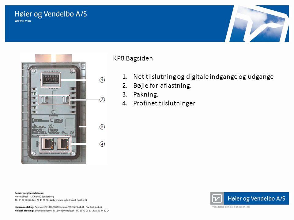 KP8 Bagsiden Net tilslutning og digitale indgange og udgange.