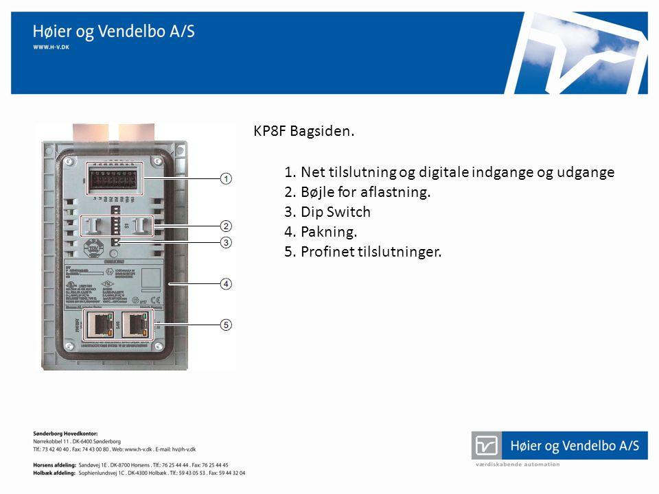 KP8F Bagsiden. 1. Net tilslutning og digitale indgange og udgange. 2. Bøjle for aflastning. 3. Dip Switch.