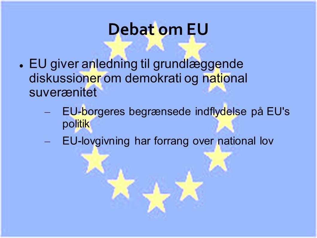 Debat om EU EU giver anledning til grundlæggende diskussioner om demokrati og national suverænitet.