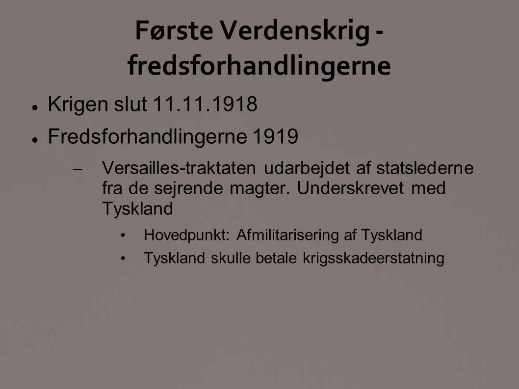 Første Verdenskrig - fredsforhandlingerne