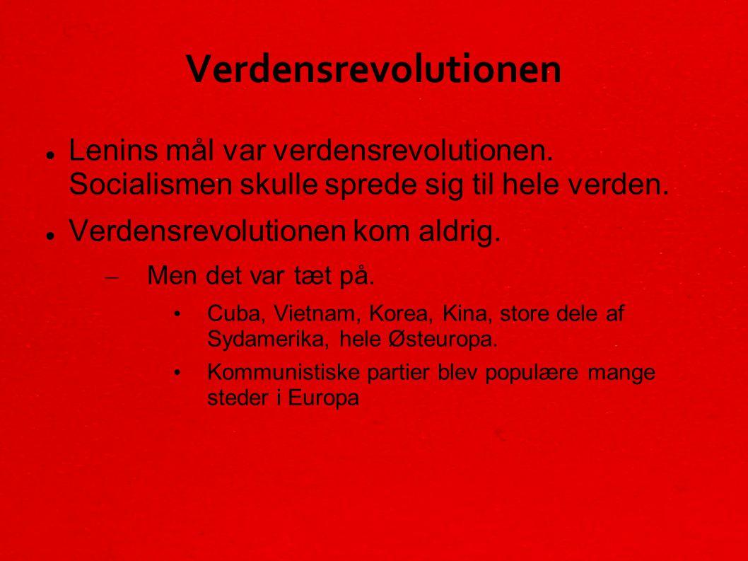 Verdensrevolutionen Lenins mål var verdensrevolutionen. Socialismen skulle sprede sig til hele verden.