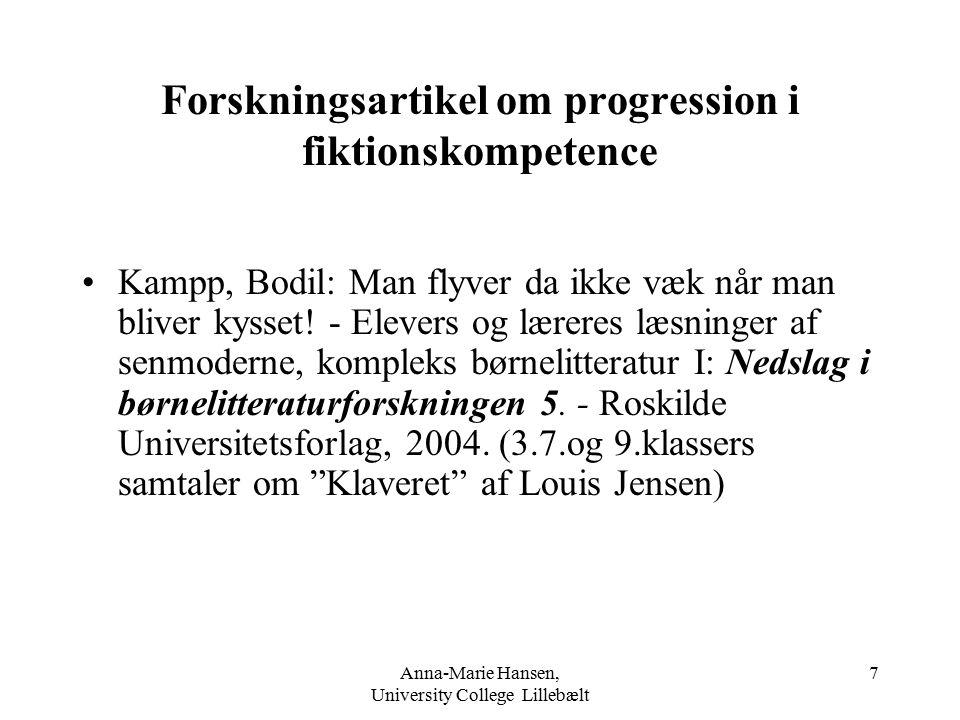 Forskningsartikel om progression i fiktionskompetence