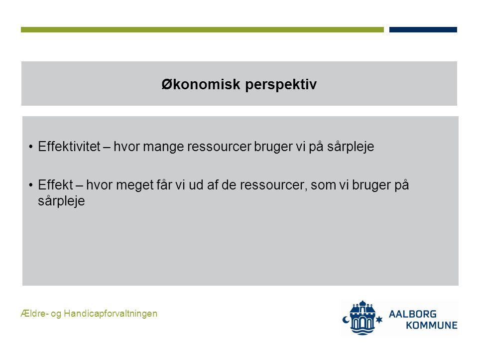 Økonomisk perspektiv Effektivitet – hvor mange ressourcer bruger vi på sårpleje.