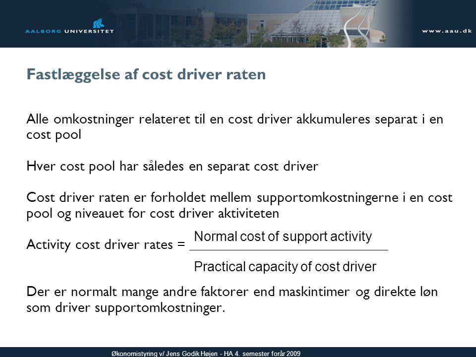 Fastlæggelse af cost driver raten