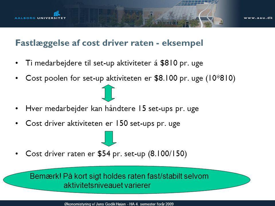 Fastlæggelse af cost driver raten - eksempel