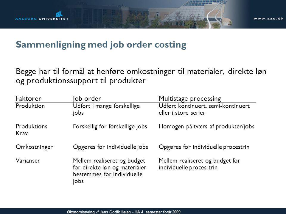 Sammenligning med job order costing