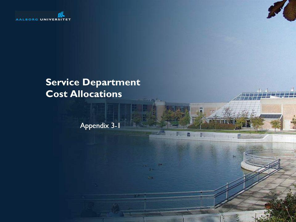 Service Department Cost Allocations