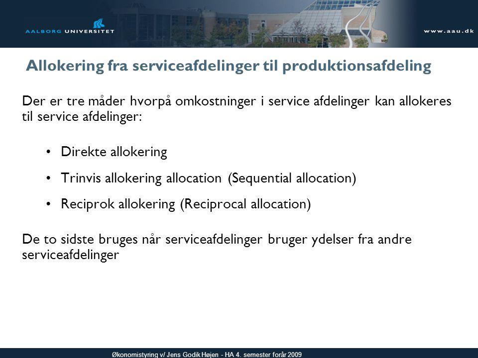 Allokering fra serviceafdelinger til produktionsafdeling