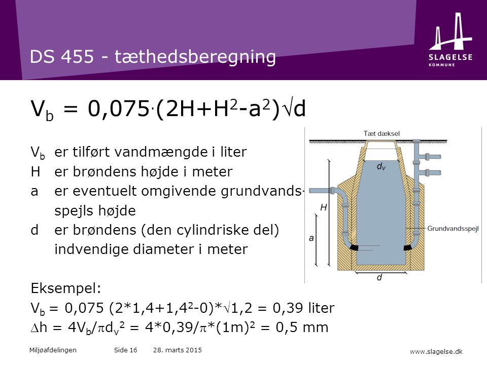 Vb = 0,075.(2H+H2-a2)d DS 455 - tæthedsberegning