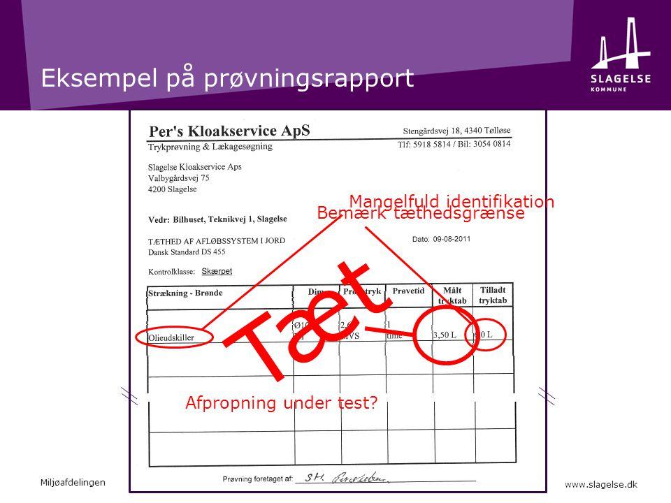 Eksempel på prøvningsrapport