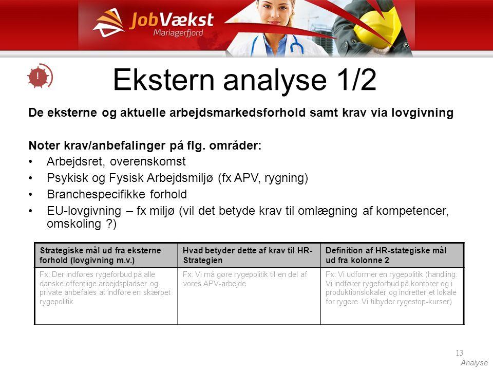 Ekstern analyse 1/2 ! De eksterne og aktuelle arbejdsmarkedsforhold samt krav via lovgivning. Noter krav/anbefalinger på flg. områder: