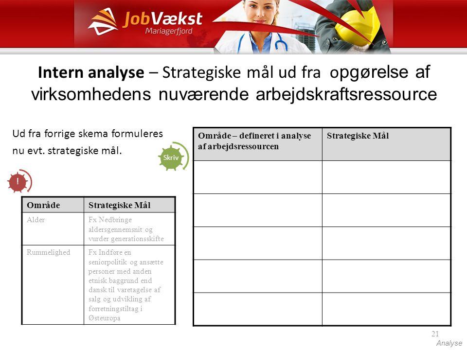 Intern analyse – Strategiske mål ud fra opgørelse af virksomhedens nuværende arbejdskraftsressource