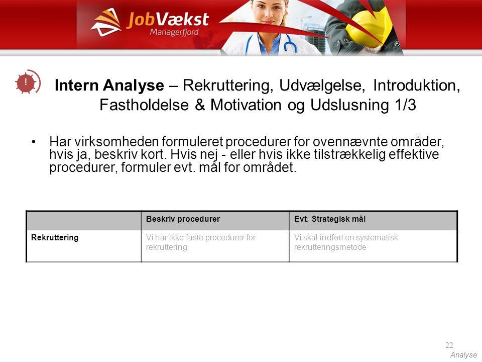 ! Intern Analyse – Rekruttering, Udvælgelse, Introduktion, Fastholdelse & Motivation og Udslusning 1/3.