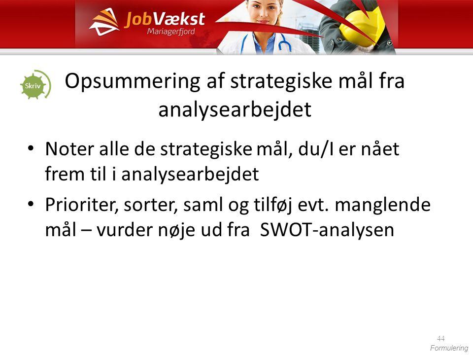 Opsummering af strategiske mål fra analysearbejdet