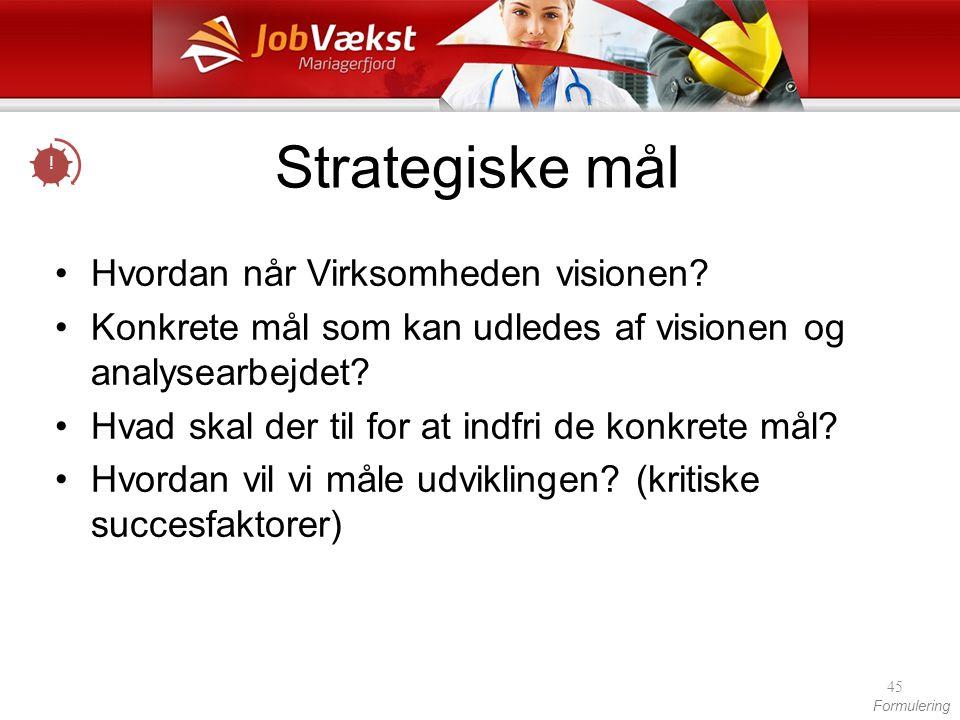 Strategiske mål Hvordan når Virksomheden visionen