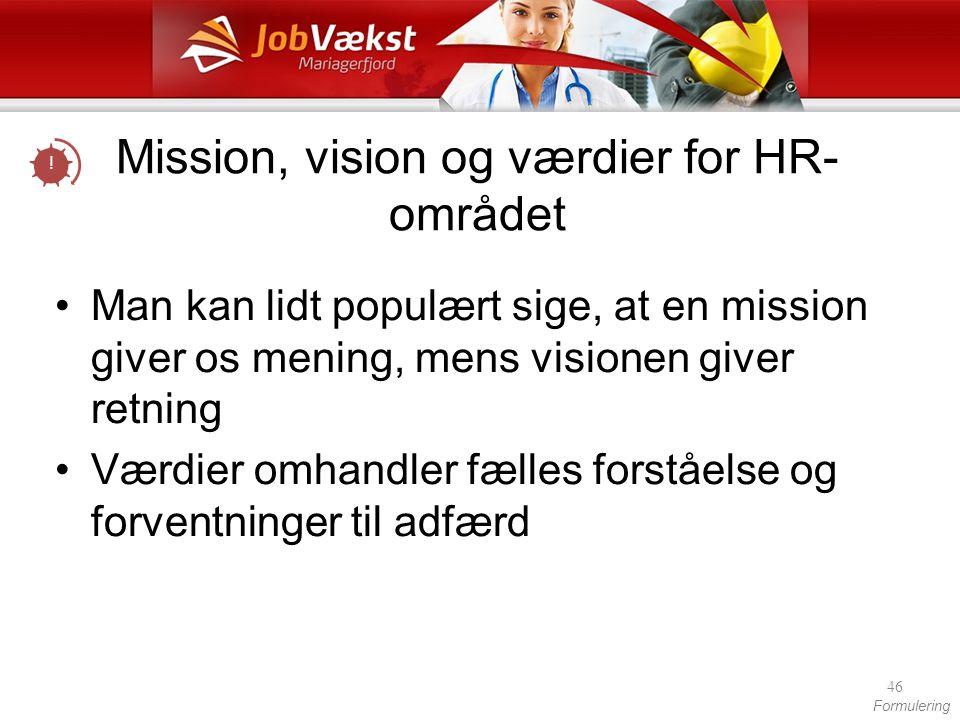Mission, vision og værdier for HR-området