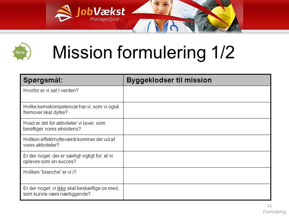 Mission formulering 1/2 Spørgsmål: Byggeklodser til mission