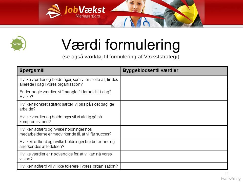 Værdi formulering (se også værktøj til formulering af Vækststrategi)