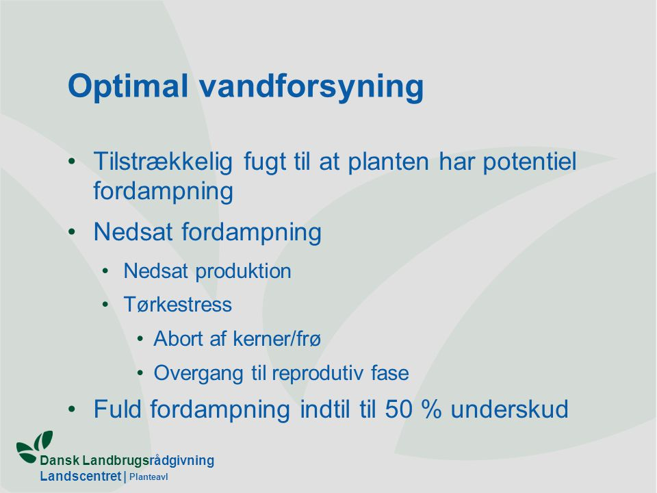 Optimal vandforsyning