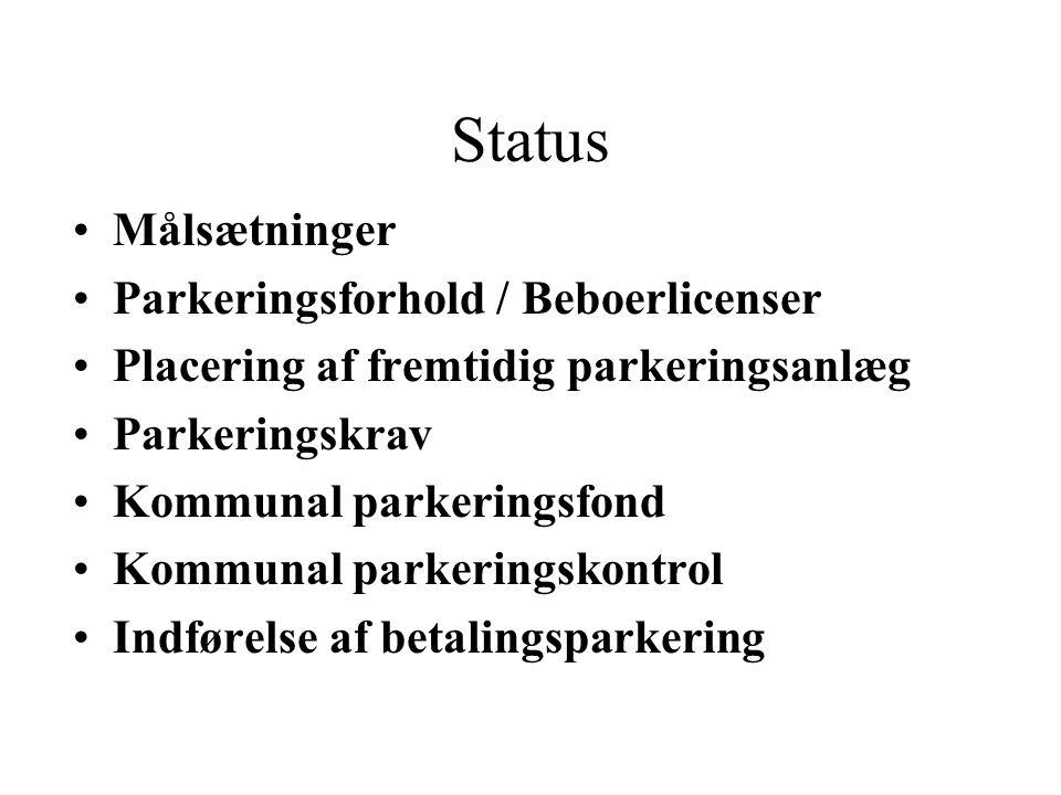 Status Målsætninger Parkeringsforhold / Beboerlicenser