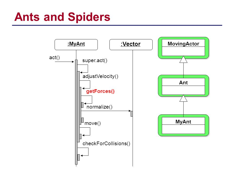 Ants and Spiders :Vector :MyAnt MovingActor Ant MyAnt act()