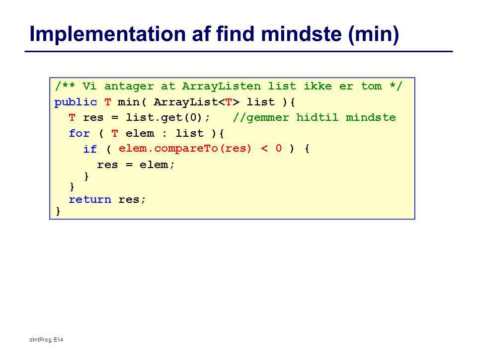 Implementation af find mindste (min)