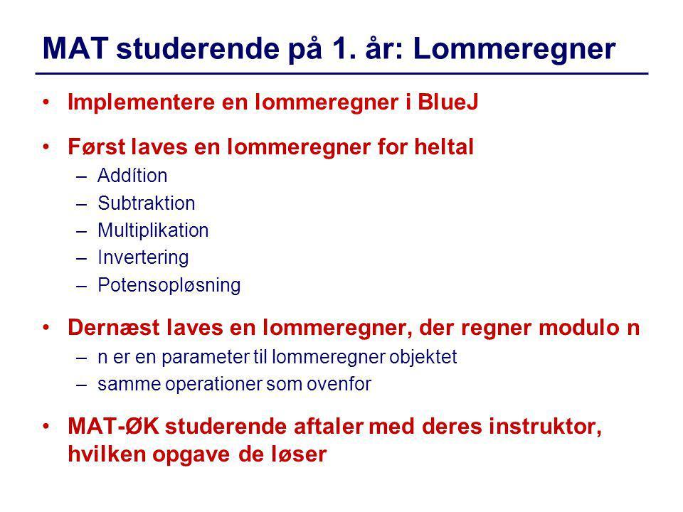 MAT studerende på 1. år: Lommeregner