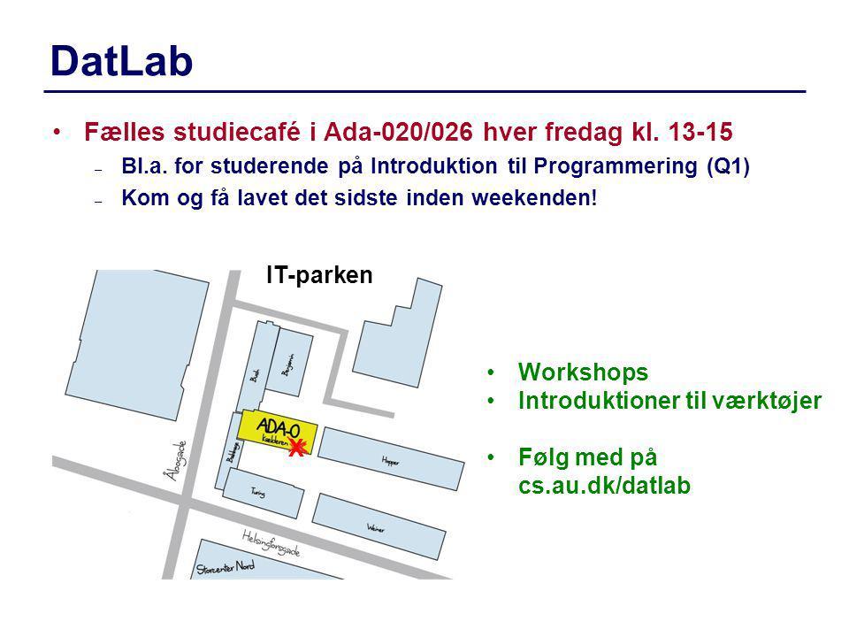 DatLab Fælles studiecafé i Ada-020/026 hver fredag kl. 13-15 IT-parken