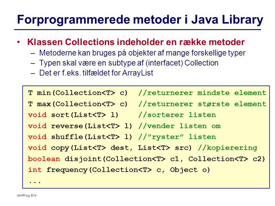 Forprogrammerede metoder i Java Library