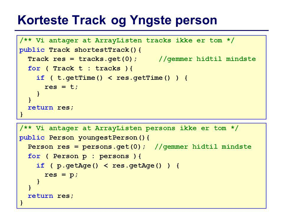 Korteste Track og Yngste person