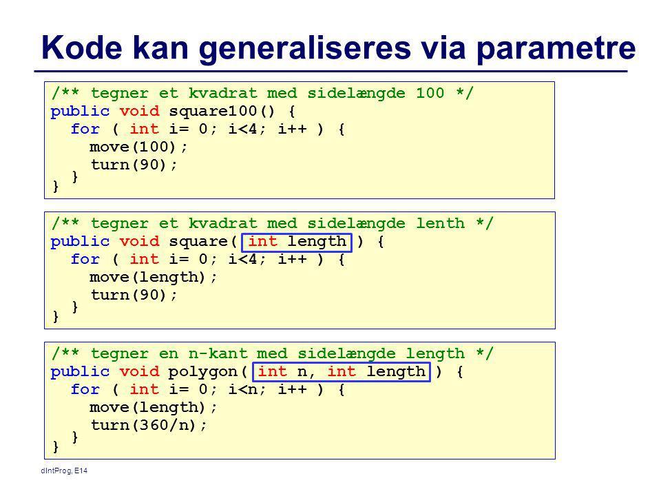 Kode kan generaliseres via parametre