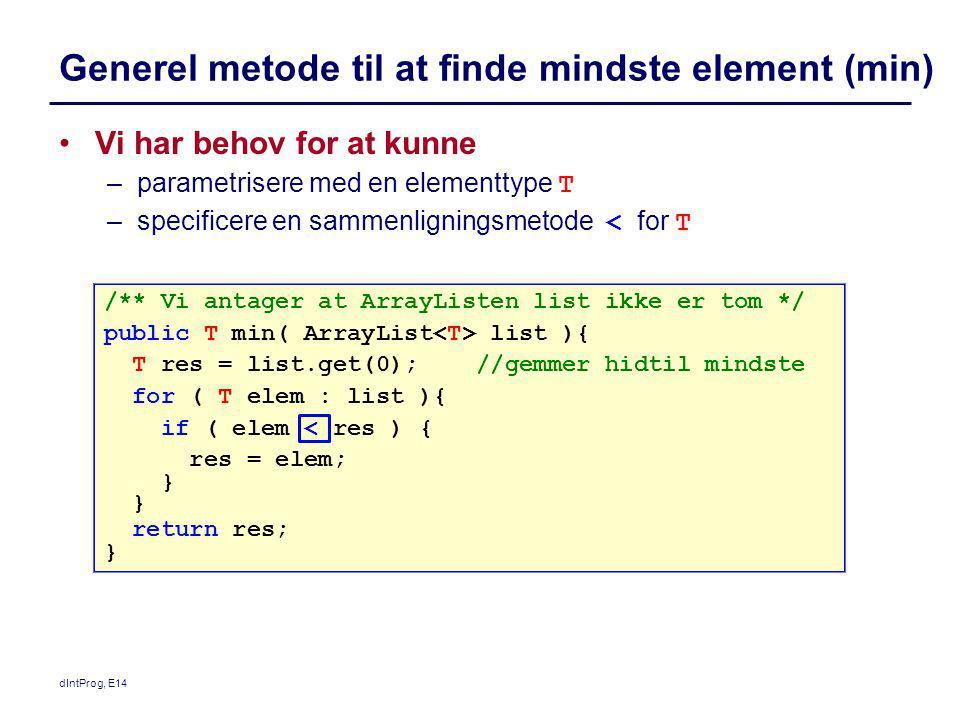 Generel metode til at finde mindste element (min)