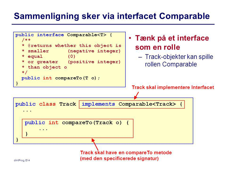 Sammenligning sker via interfacet Comparable