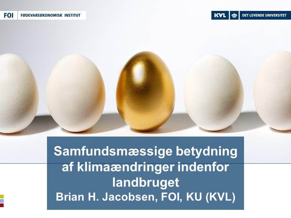 Samfundsmæssige betydning af klimaændringer indenfor landbruget Brian H. Jacobsen, FOI, KU (KVL)