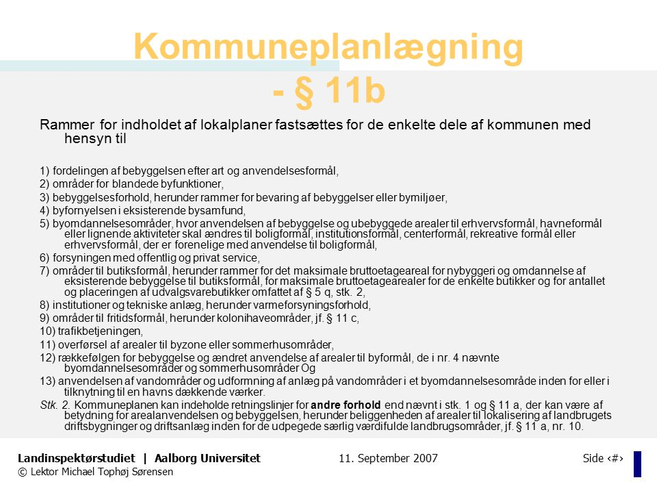 Kommuneplanlægning - § 11b