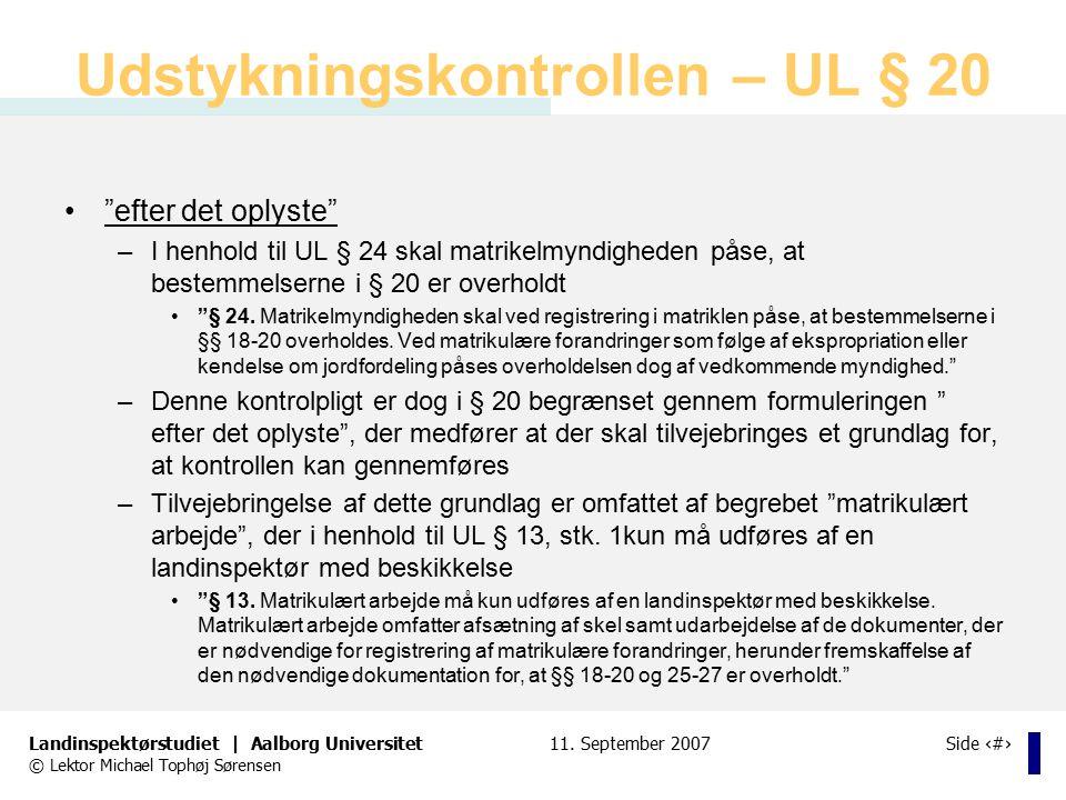 Udstykningskontrollen – UL § 20