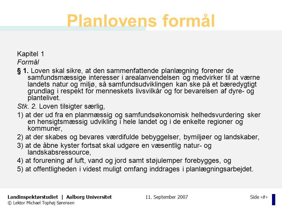 Planlovens formål Kapitel 1 Formål