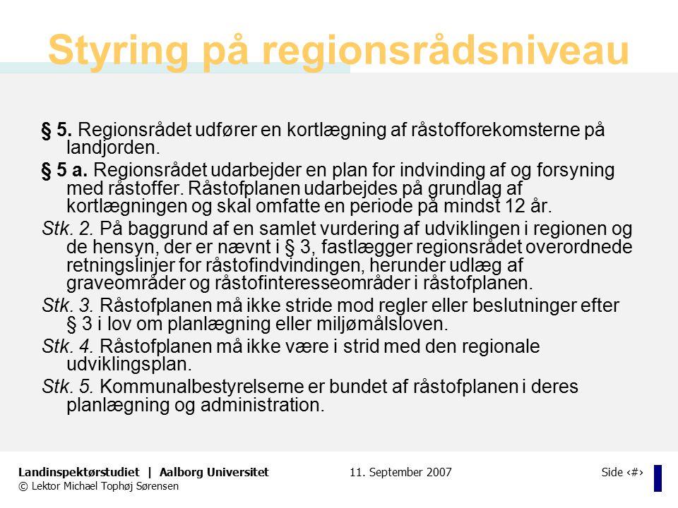 Styring på regionsrådsniveau