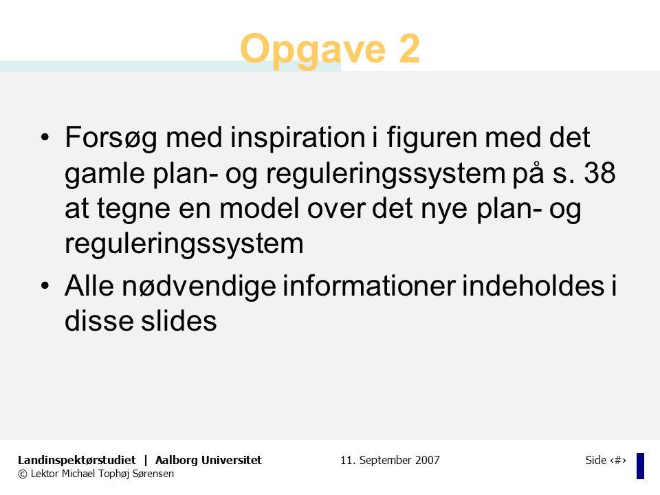 Opgave 2 Forsøg med inspiration i figuren med det gamle plan- og reguleringssystem på s. 38 at tegne en model over det nye plan- og reguleringssystem.