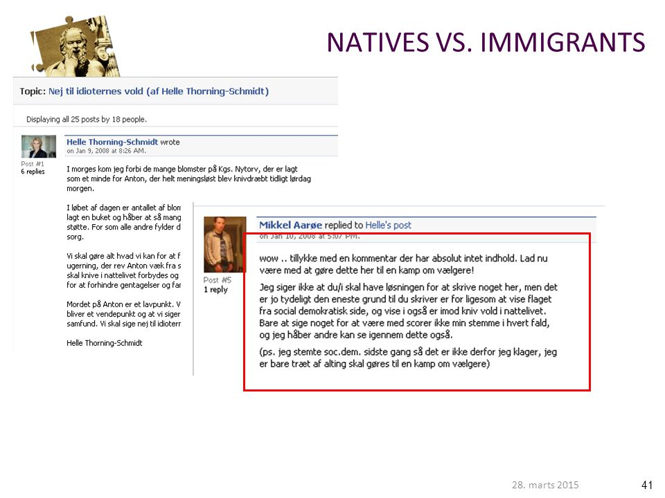 NATIVES VS. IMMIGRANTS 8. april 2017