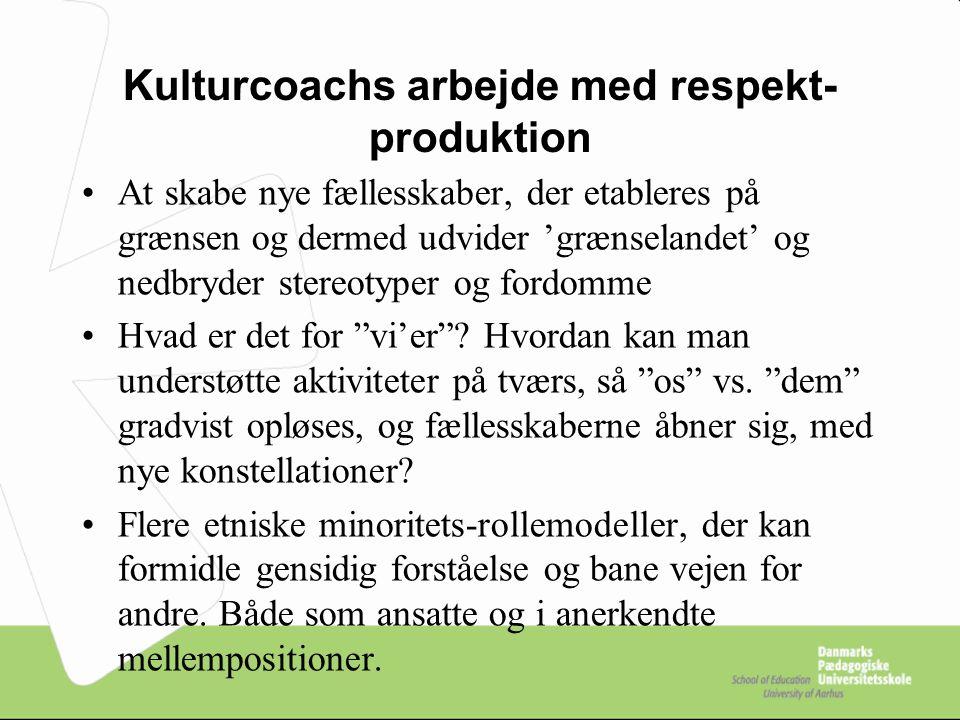 Kulturcoachs arbejde med respekt-produktion