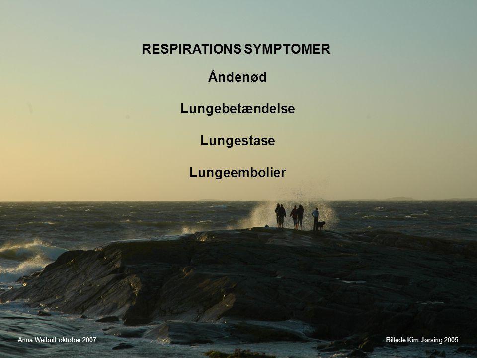 Åndenød Lungebetændelse Lungestase Lungeembolier