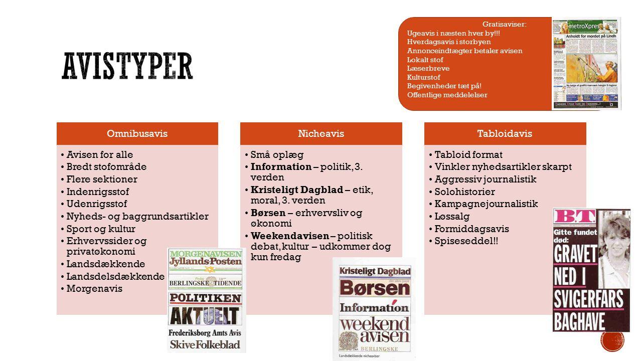 Avistyper Omnibusavis Avisen for alle Bredt stofområde Flere sektioner