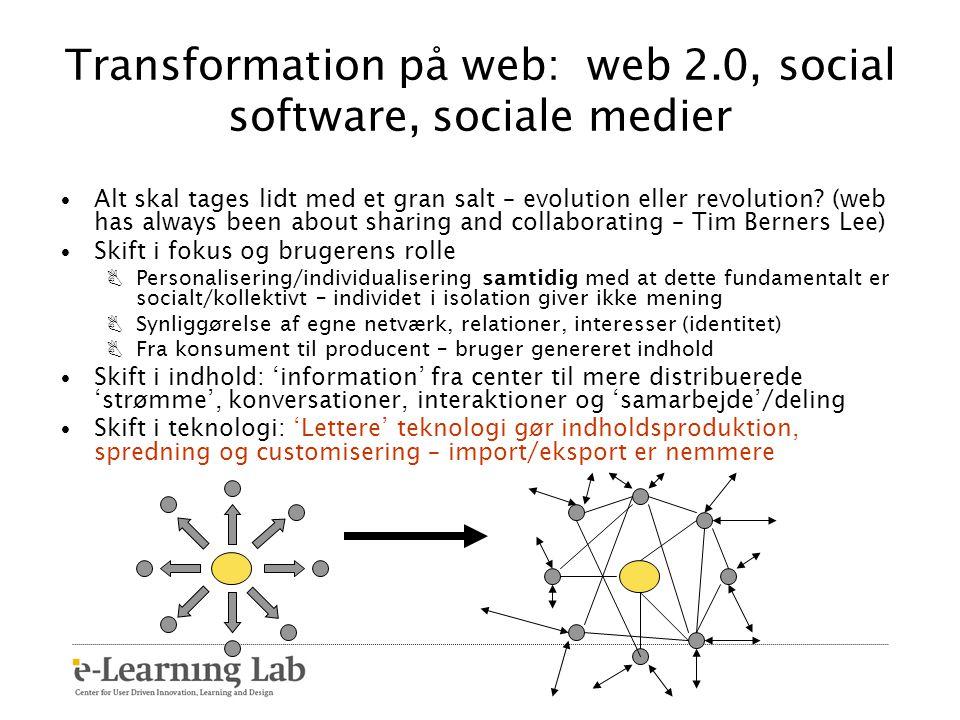 Transformation på web: web 2.0, social software, sociale medier