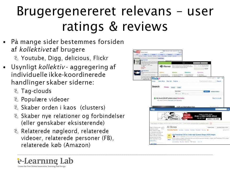 Brugergenereret relevans – user ratings & reviews