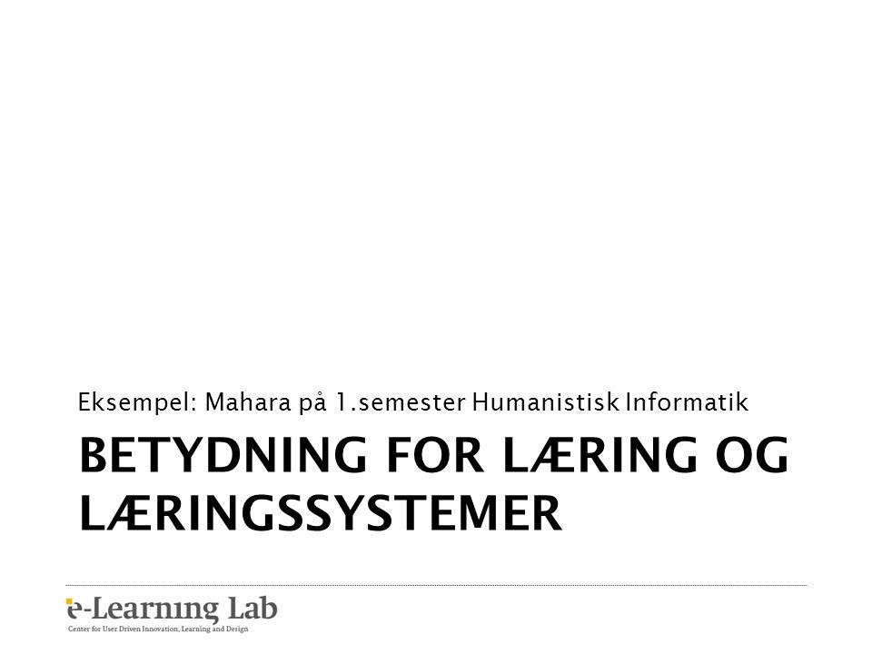 Betydning for læring og læringssystemer