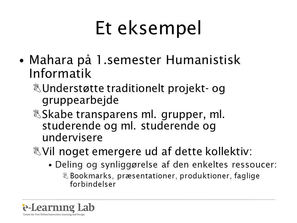 Et eksempel Mahara på 1.semester Humanistisk Informatik