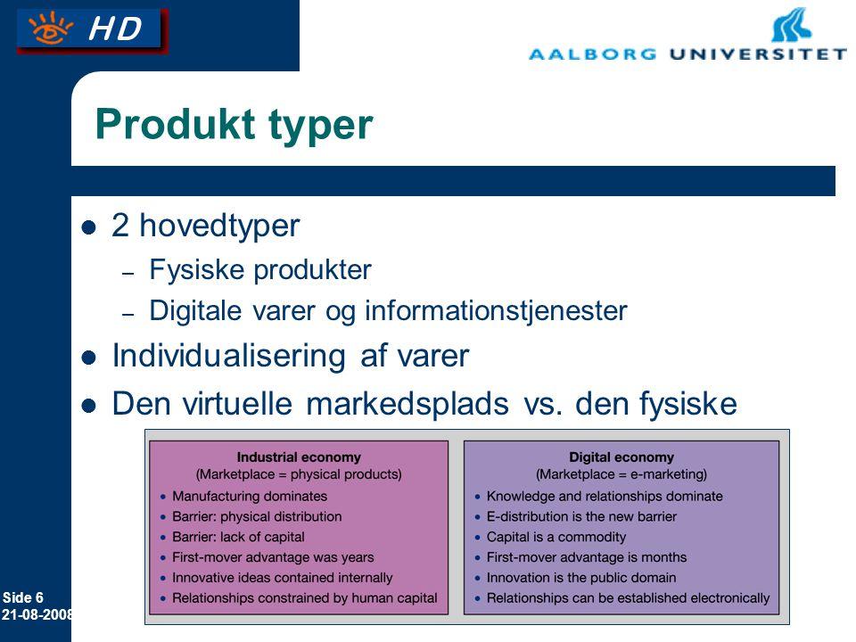 Produkt typer 2 hovedtyper Individualisering af varer
